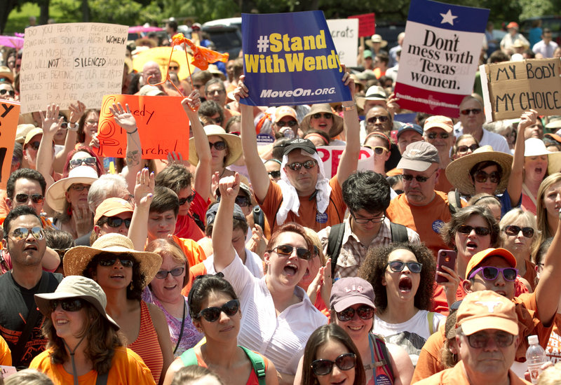 Abortion rights supporters rally at the state Capitol in Austin, Texas, on Monday. The Texas Senate has convened for a special session to take up an abortion restrictions bill.