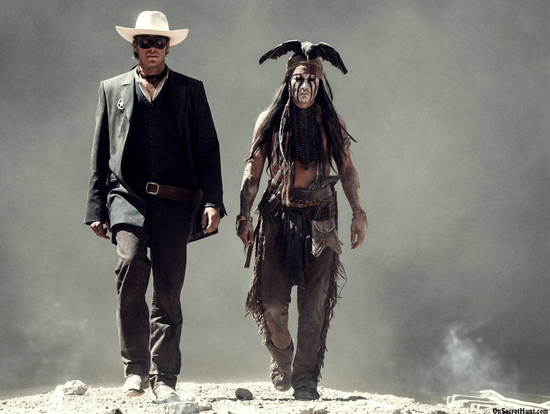 Armie Hammer is John Reid (aka the Lone Ranger) and Johnny Depp is his fellow traveler Tonto.