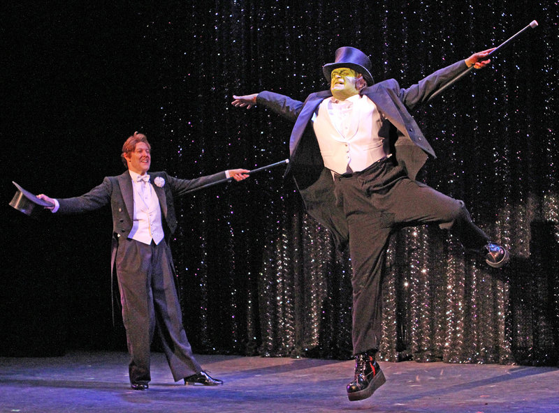 "John Bolton as Frederick Frankenstein and Brad Nacht as the monster in the Ogunquit Playhouse production of ""Young Frankenstein,"" opening Wednesday and continuing through July 27."