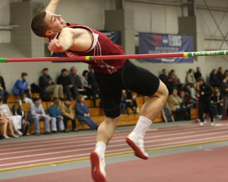 South Portland's David Hardison, pictured competing in an indoor meet, capped his senior season at Bates College by finishing fifth in the NCAA Division III decathlon.