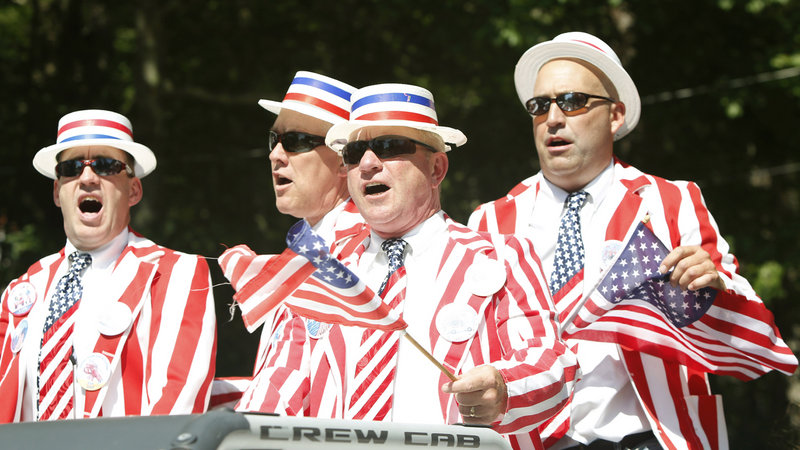 The Ocean Park Boys sing while riding in the 63rd Annual Independence Day Community Parade in Ocean Park. A large crowd turned out for the event.
