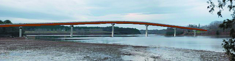 The new Richmond-Dresden bridge, which will replace a swing bridge, will be high enough at 75 feet for even large vessels.