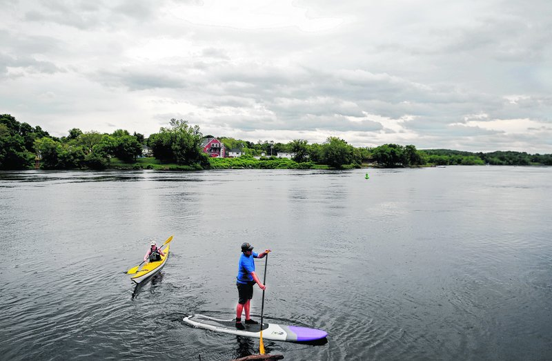 Paddlers on the Kennebec River in Gardiner enjoy a slice of outdoors space that is underused, some say.