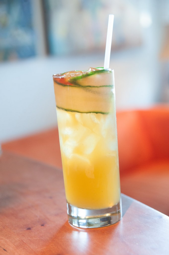 A Cucumber Pimm's Cup, made at The Salt Exchange with Back River gin.
