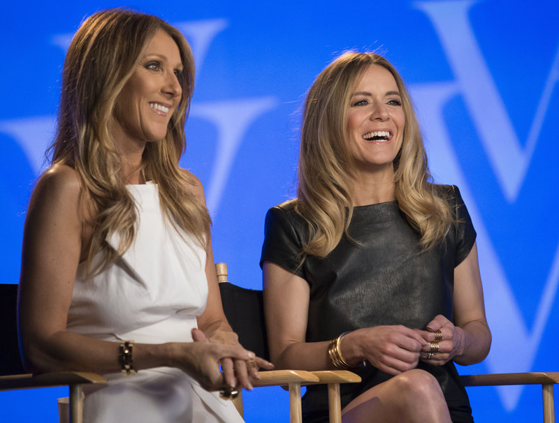 Celine Dion, left, is throwing her star power behind fellow Canadian singer Veronic DiCaire, right, in Las Vegas.