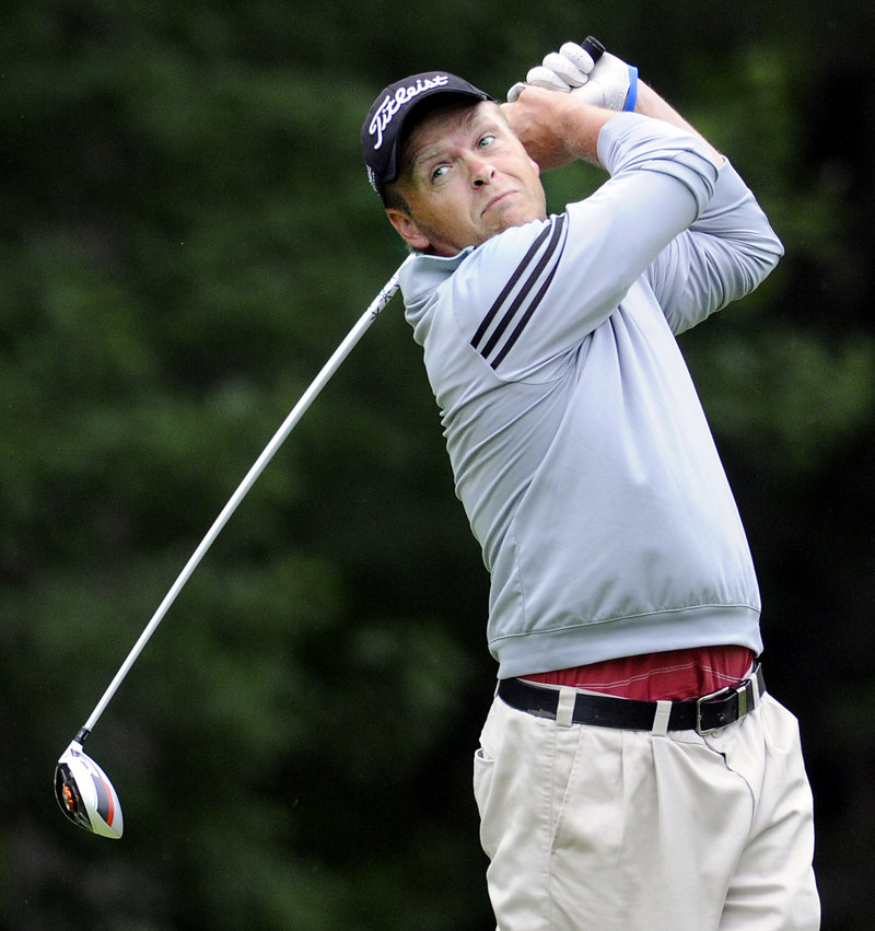 Ricky Jones tees off Wednesday during the second day of the Maine Amateur at the Augusta Country Club in Manchester. The tournament concludes Thursday.