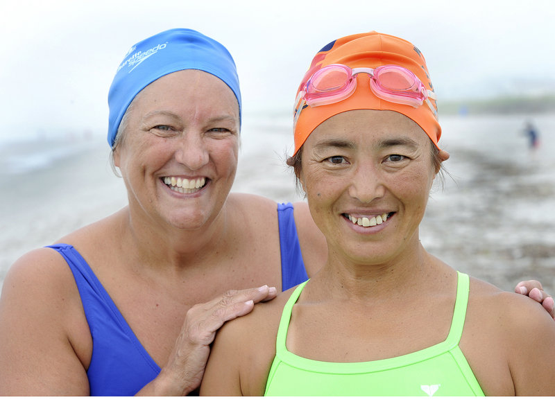 Japanese marathon open water swimmer Miyuki Fujita, right, and Westbrook's Pat Gallant-Charette are two of the entrants for Saturday's Peaks to Portland swim.