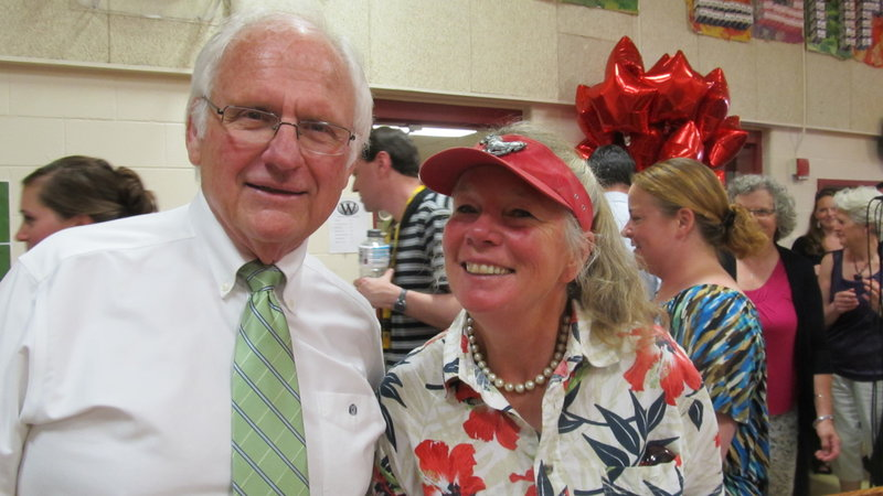 William Richards, Wells-Ogunquit interim superintendent, with retiring Wells High School science teacher Pamela Parrott, one of the schools' staff members honored for their service.