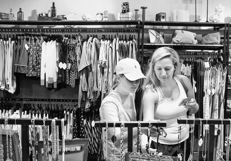 Claire Zilch, left, and her sister Liz shop last month at Geranium Jewelry in St. Louis. Geranium, a wholesale accessories line based in Ballwin, Mo., opened its first retail store at The Boulevard-Saint Louis in November 2012.