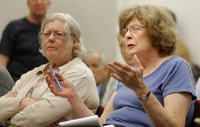 Joan Grant, a member of the Friends of Congress Square Park, asks about the proposed development of Congress Square Plaza at City Hall on Thursday.