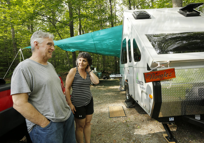 Jeff and Donna Daigle of Massachusetts have been camping at Camden Hills for years, enjoying both the rural splendor and the Rockland Blues Festival within an easy drive.