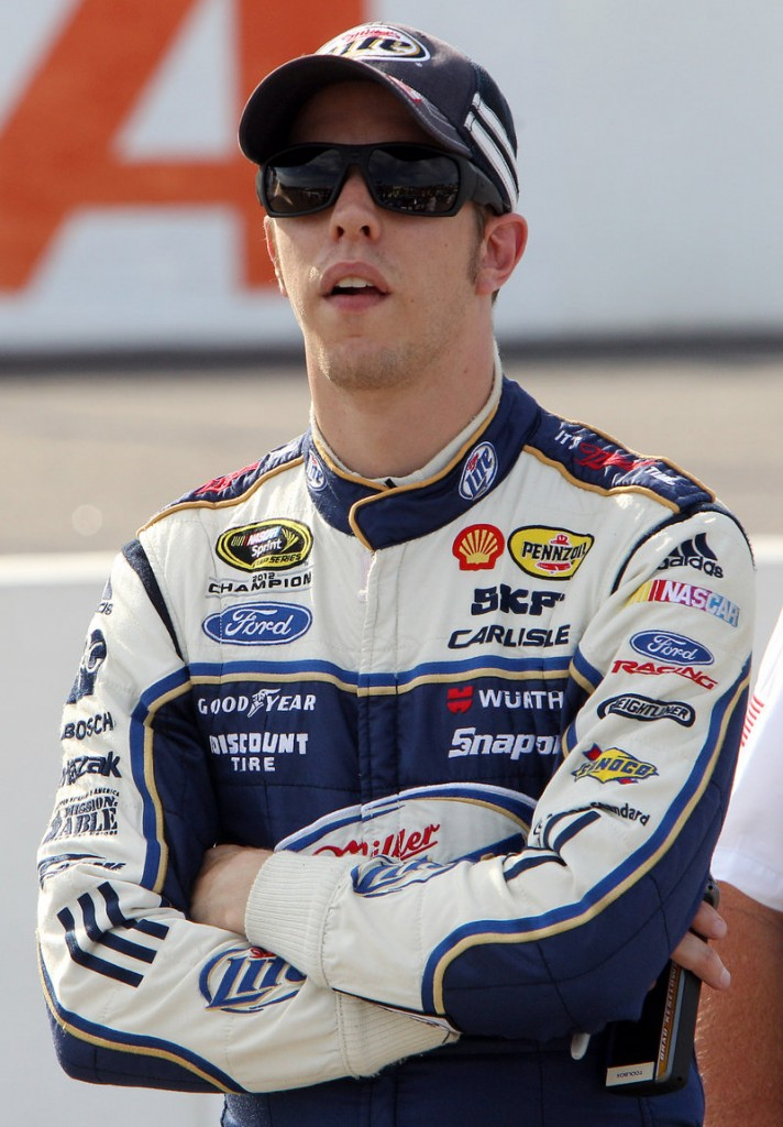 Brad Keselowski, attempting to move up from 13th and earn a spot in the Chase, took a step by setting a track record while qualifying for the pole for Sunday's race.