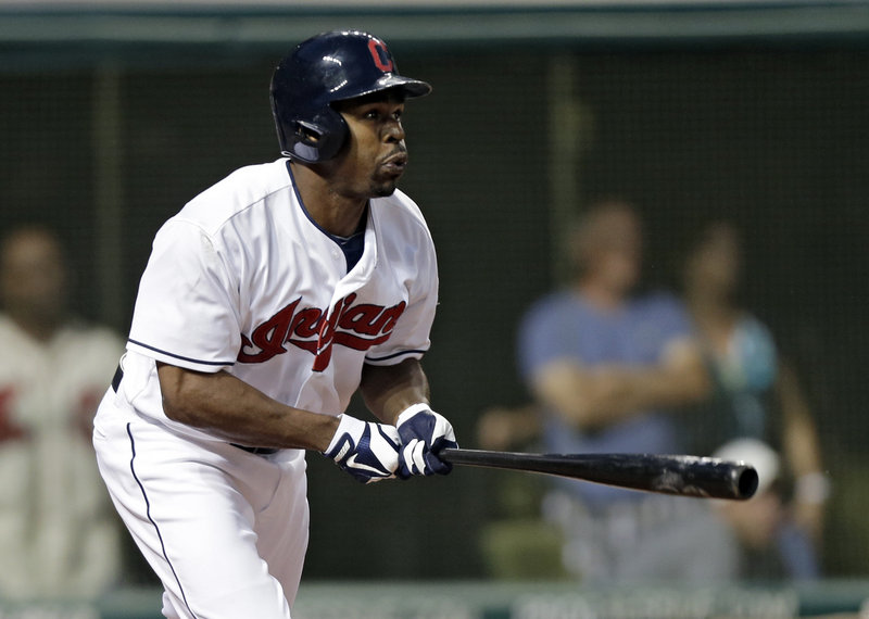 Cleveland's Michael Bourn doubles to drive in a pair of runs in the seventh inning of the host Indian's 3-0 victory over the Kansas City Royals on Friday night.
