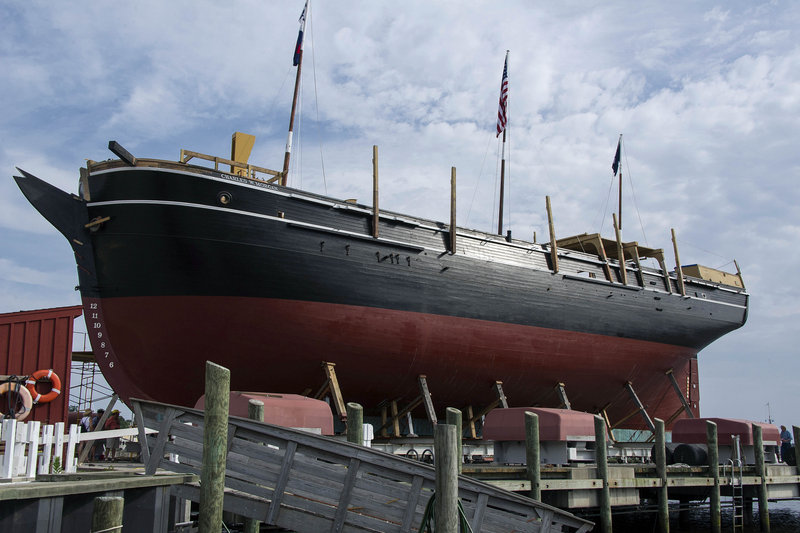 The Charles W. Morgan is being restored in Mystic, Conn. Built in 1841, the whaling vessel, which weathered countless storms and withstood Confederate raids, is called lucky. It will hit the waters again July 21 when it is lowered into the Mystic River.