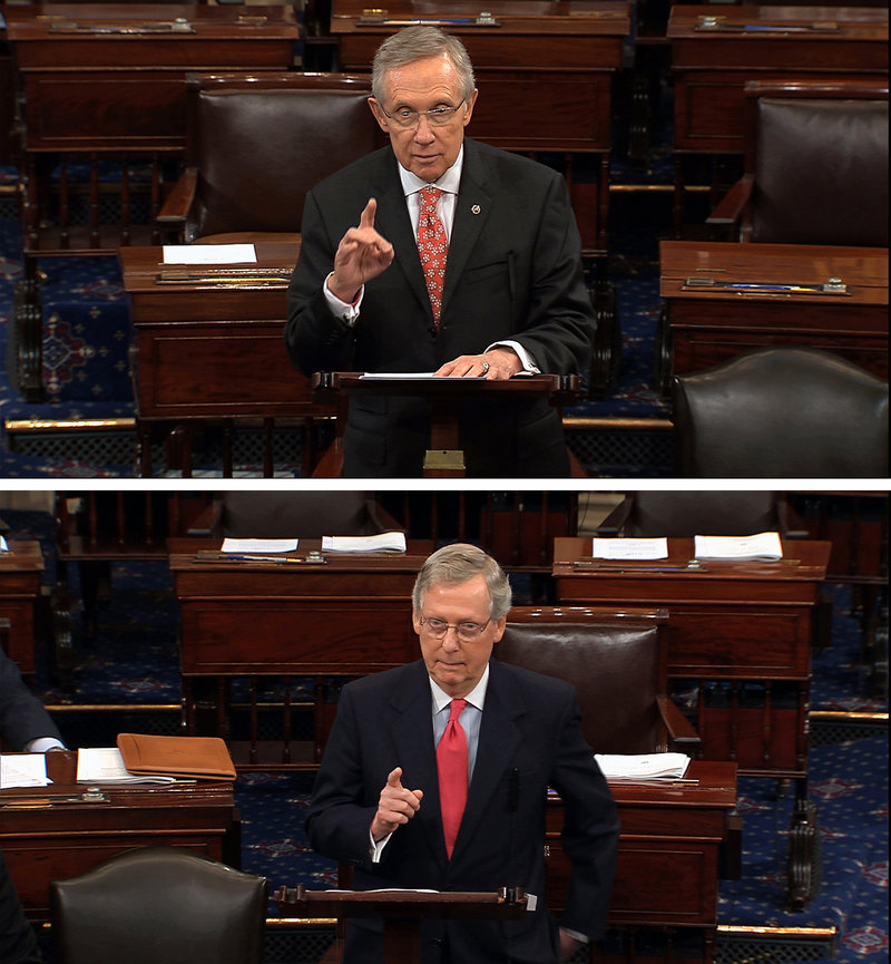 Sen. Harry Reid, top photo, is considering a change to Senate rules for confirmation votes on President Obama's administrative positions. Sen. Mitch McConnell, bottom photo, disapproves.