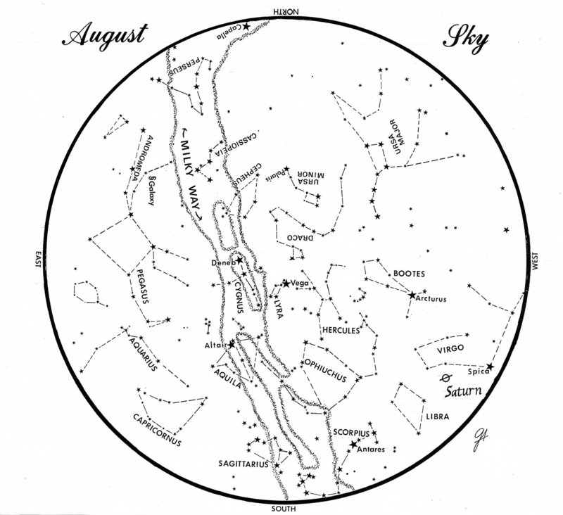 This chart represents the sky as it appears over Maine during August. The stars are shown as they appear at 10:30 p.m. early in the month, at 9:30 p.m. at midmonth and at 8:30 p.m. at month's end. Saturn is shown in its midmonth position.