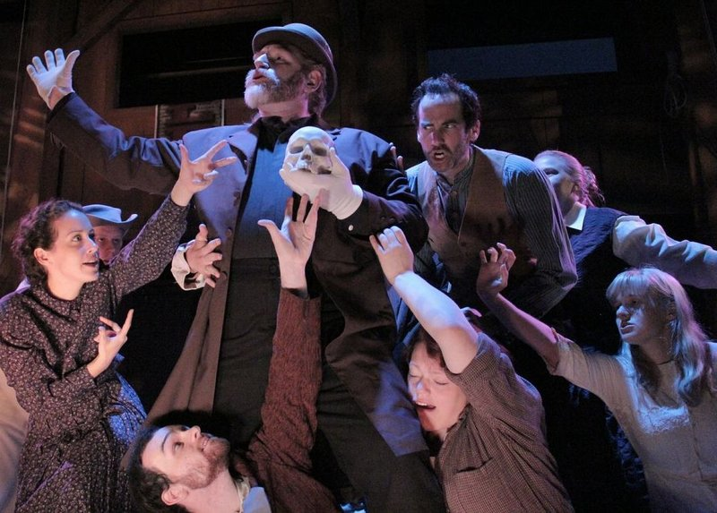 """Cast members from """"The Legend of Jim Cullen,"""" led by guest equity actor David Connelly, rehearse in costume."""