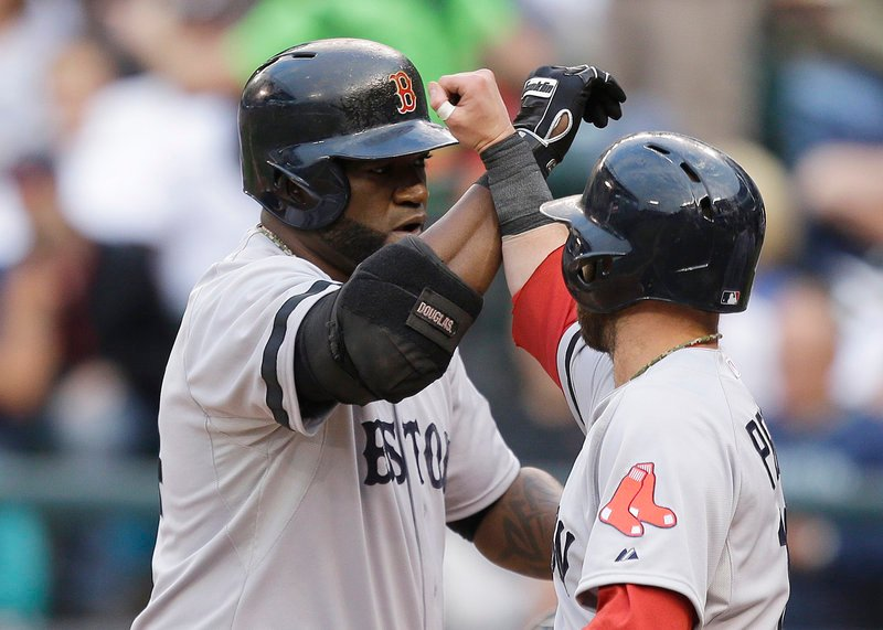 David Ortiz, left, and Dustin Pedroia are two of the hitters who have given Boston a potent offense this year – the Sox are leading the majors in a number of key categories.