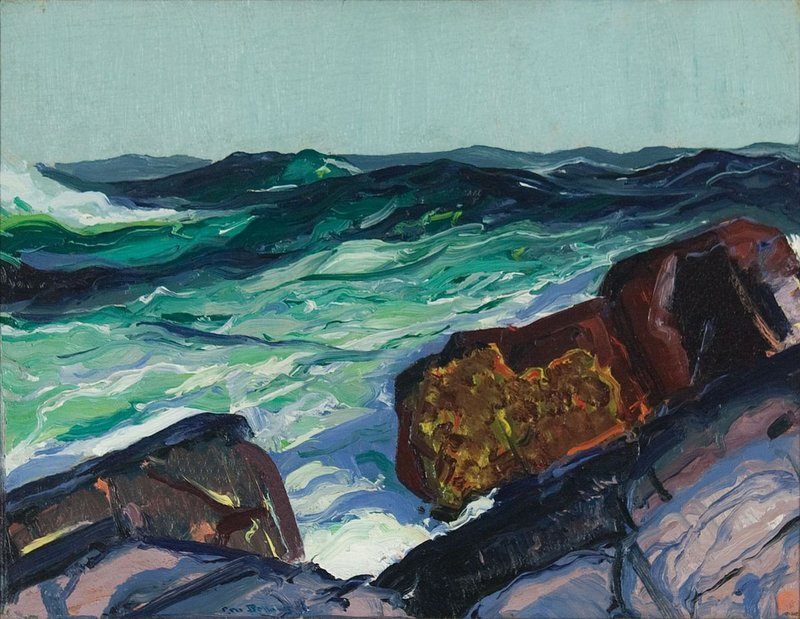 "The colors and abstract forms in George Bellows' ""Iron Coast, Monhegan,"" reflect modernist influences."