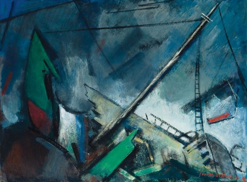 """The Wreck of the St. Christopher"" by Joseph DeMartini (1949) is part of ""A Spirit of Wonder"" at the Monhegan Museum."