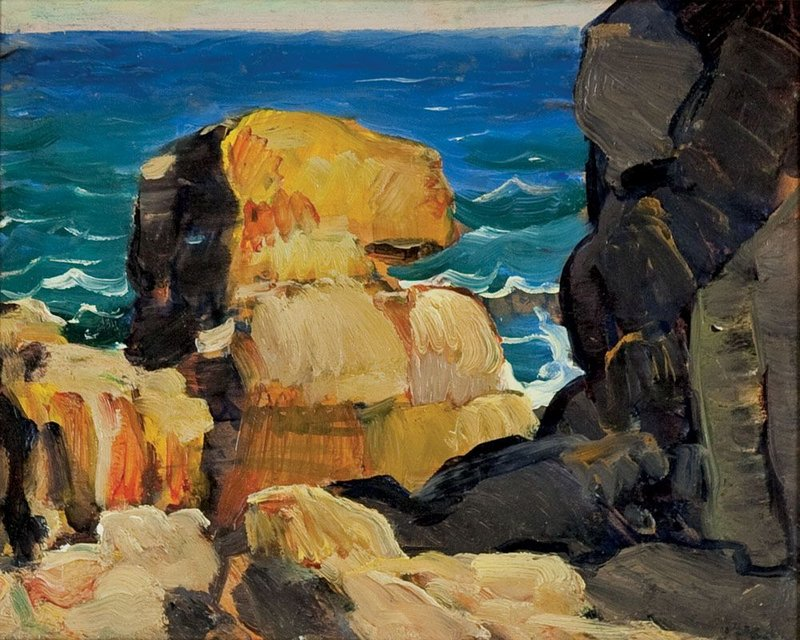 "The colors and abstract forms in Leon Kroll's ""Monhegan Rocks"" reflect modernist influences. Courtesy Monhegan Museum"