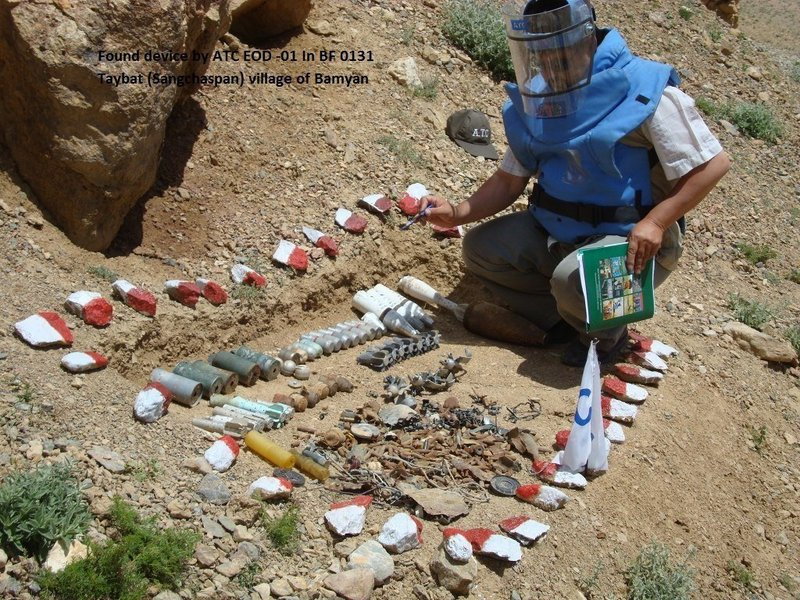 A member of a U.N.-funded demining team shows some of the ordnance recovered from what is believed to be a firing range used by New Zealand troops near their recently closed base in Bamiyan province, Afghanistan.