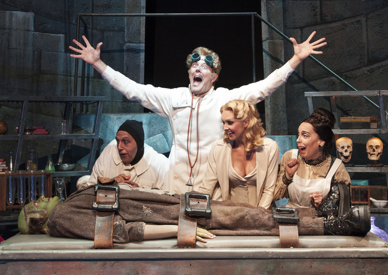 "From left: Brad Nacht, Nathan Klau, John Bolton, Lara Seibert and Sandy Rosenberg in a scene from ""Young Frankenstein"" at Ogunquit Playhouse."