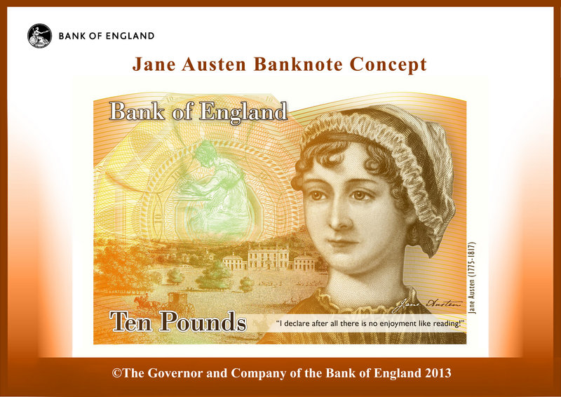 Novelist Jane Austen is pictured in the design concept for England's new 10-pound note.