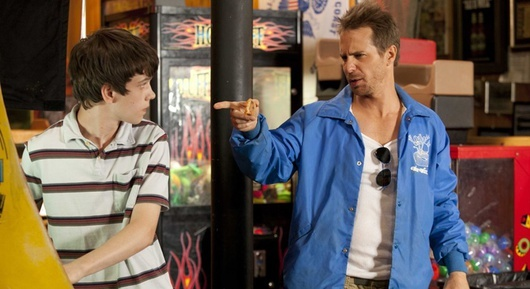 "Liam James and Sam Rockwell in ""The Way, Way Back."""
