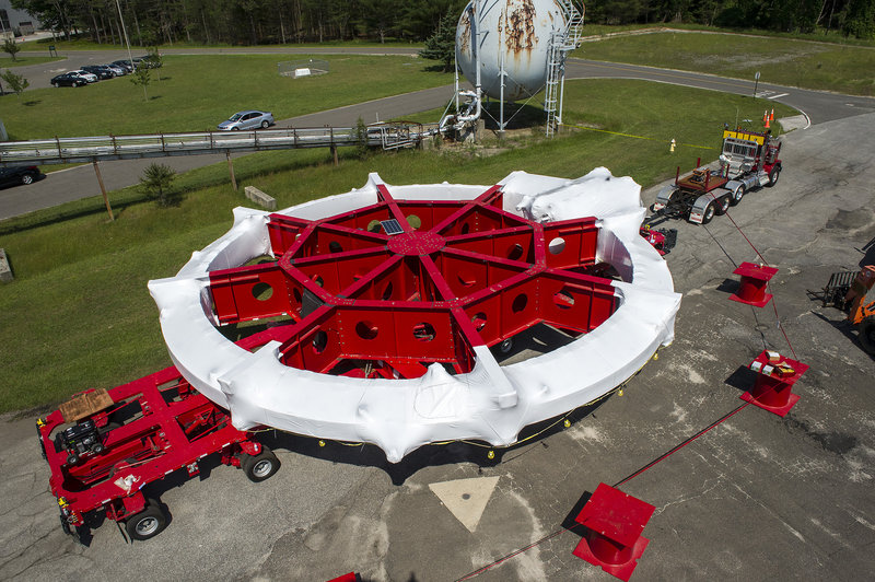The 50-foot-wide, 15-ton electromagnet had an eventful cross-country trip.