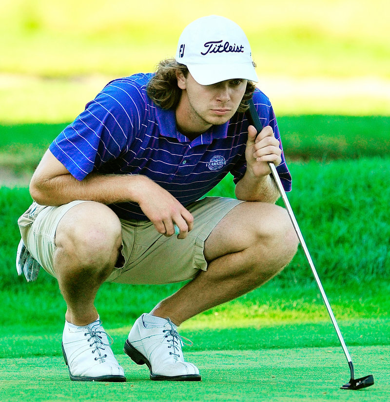 Maine Open champ Evan Harmeling lines up a putt on the 18th green Tuesday in the final round. Harmeling birdied the hole to win the two-day tourney and collect a $10,000 check.