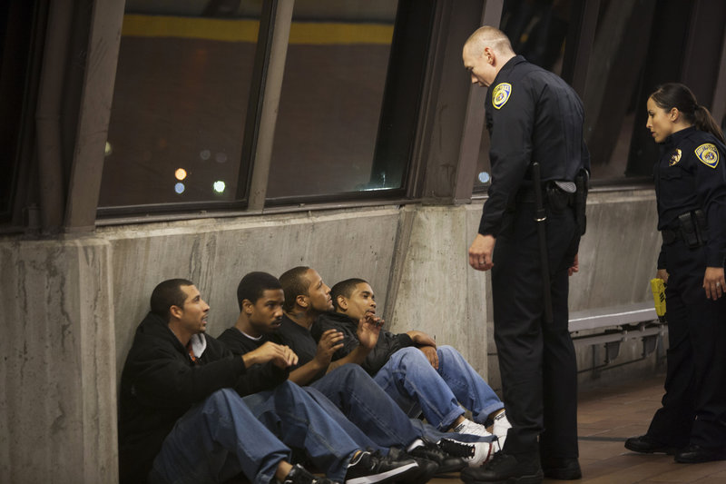 "Michael James, left, Michael B. Jordan, Trestin George, Thomas Wright, Kevin Durand and Alejandra Nolasco in ""Fruitvale Station."""
