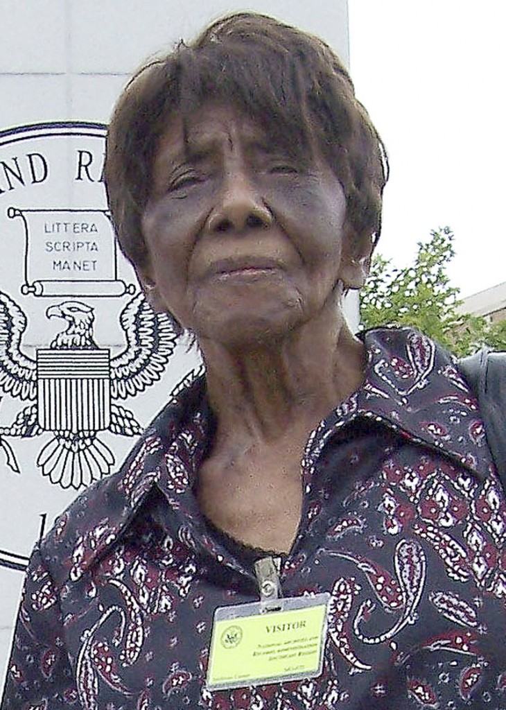 This July 20, 2012 photo provided by Marcus E. Jones shows his grandmother, Lillian Bonner Sutson, outside the The National Archives at Atlanta facility in Morrow, Ga. Sutson, a little-known civil rights activist whose attempts to register as a voter in South Carolina in 1940 set a precedent in the fight against segregation and voting discrimination in the South. Bonner died Monday, July 29, 2013, in Saugus, Mass. She was believed to be 99. (AP Photo/Marcus E. Jones)