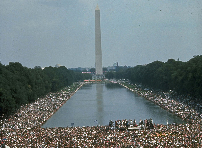 Civil rights marchers gather on the National Mall between the Washington Monument and the Lincoln Memorial on Aug. 28, 1963.