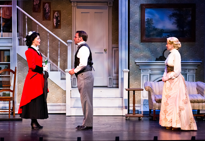 Lauren Blackman as Mary Poppins, Jeff Coon as Mr. Banks and Heidi Kettenring as Mrs. Banks in the Maine State Theatre production of