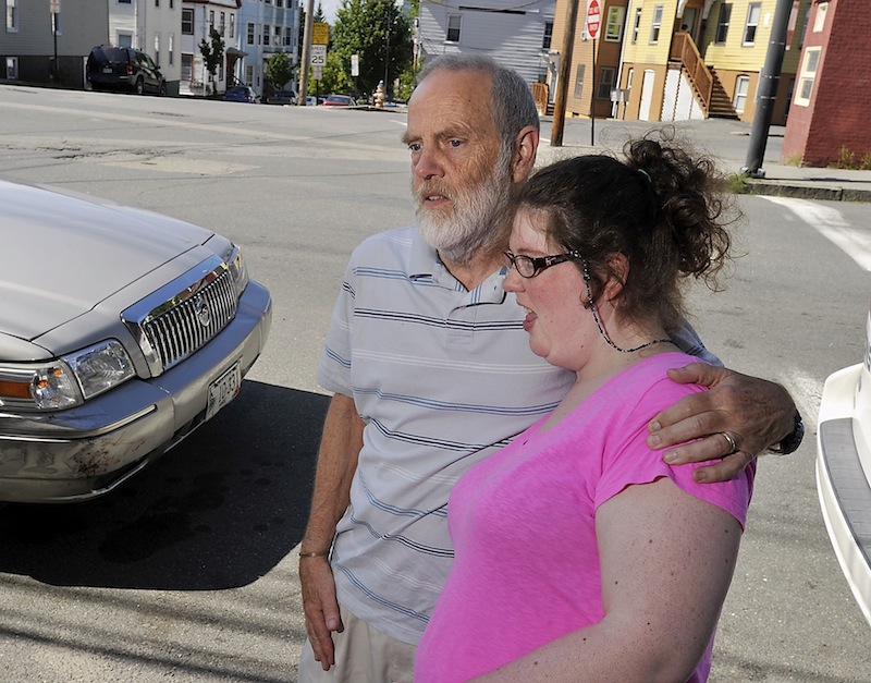 """Rebecca Lee gets a ride home from her father from the Goodwill Neurorehab Services at Bayside after her regular MaineCare-funded ride failed to show because of a """"medical emergency"""" on Wednesday, Aug. 7, 2013."""