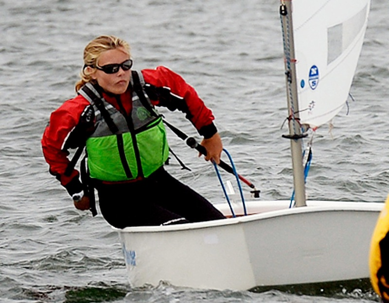 Sandra Heilshorn of The Portland Yacht Club competes in the 2013 U.S. Optimist Dinghy Association's New England Championship Regatta on Thursday, August 8, 2013.