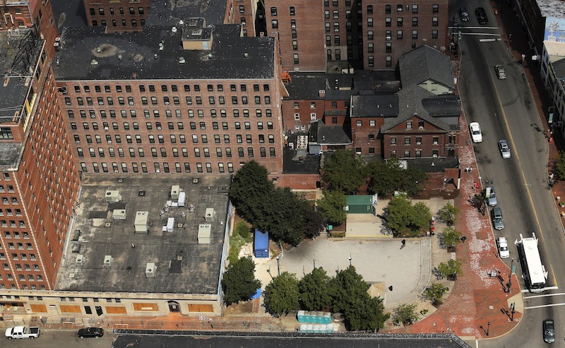 The Congress Square Plaza is seen in this aerial image on Saturday, August 17, 2013.
