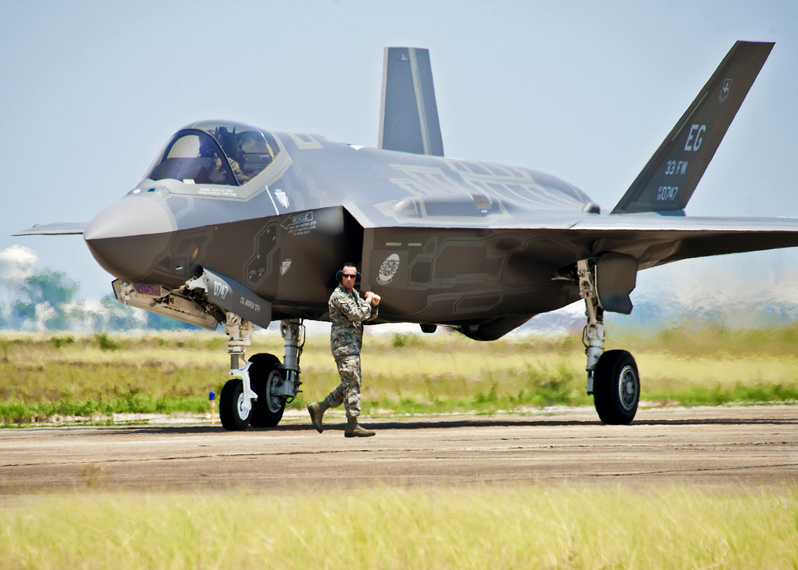 A U.S. Air Force F-35 Joint Strike Fighter is seen at Eglin Air Force Base in Florida. The U.S. wants to  add about 1,200 staff and  two squadrons of F-35 fighters at the RAF Lakenheath airbase in Britain.