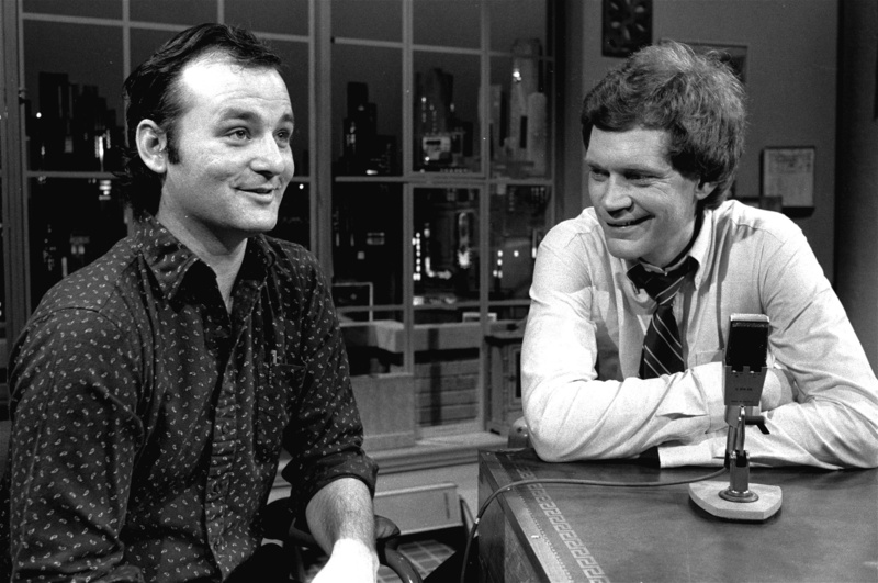 David Letterman, right, is shown at the taping of his first ever talk-comedy hour with guest Bill Murray on Feb. 1, 1982, in New York.