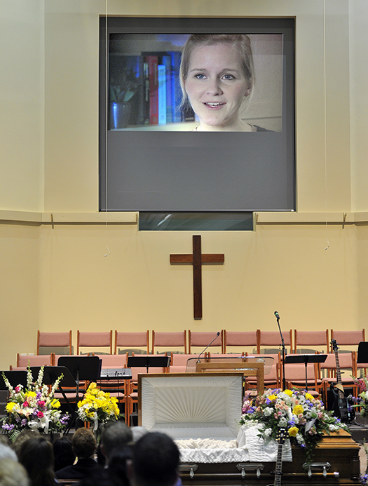 A video shown at a celebration of her life shows Ashley Drew speaking about her medical condition at First Baptist Church in Portland on Friday.