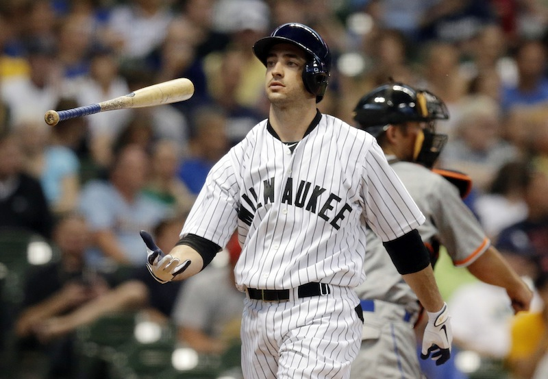 In this July 20 photo, Milwaukee Brewers' Ryan Braun flips his bat after striking out during the third inning against the Miami Marlins in Milwaukee. Braun has admitted taking performance-enhancing drugs during his NL MVP season of 2011.
