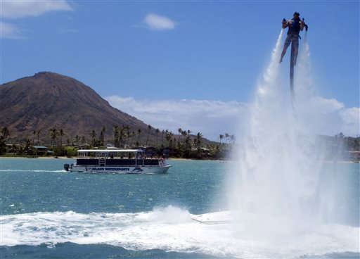 A jetpack instructor at H2O Water Sports demonstrates how to use a Jetlev in Honolulu. Complaints from fishermen and other ocean enthusiasts prompted the Hawaii Department of Land and Natural Resources to call a public meeting about the devices last month.