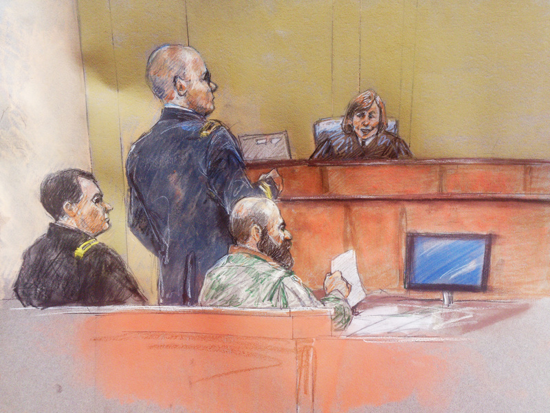 In this courtroom sketch, Maj. Nidal Hasan, right, sits with his standby defense attorneys Maj. Joseph Marcee, left, and Lt. Col. Kris Poppe, standing, as presiding judge Col. Tara Osborn looks on, during Hasan's trial Thursday in Fort Hood, Texas.