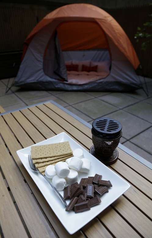 What would camping be without s'mores, an option at the Affinia Gardens hotel in New York.