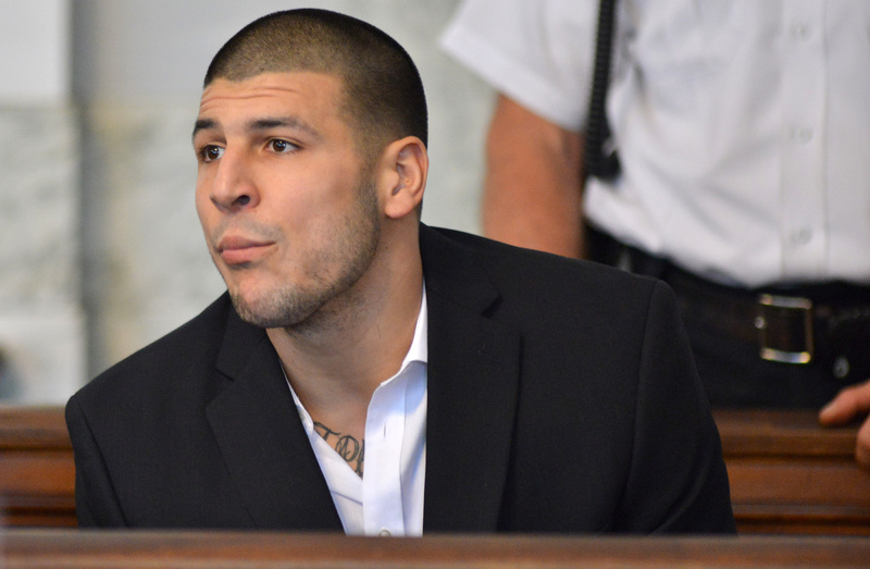 Former New England Patriot football player Aaron Hernandez, listens to procedings in a court in Attleboro, Mass., on Thursday.