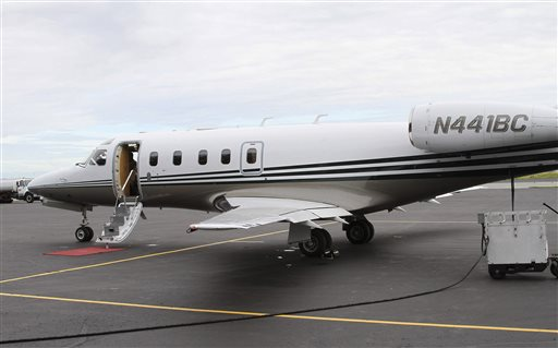 The jet that was used in a simulation of a passenger jet being hijacked over western Alaska awaits boarding at Ted Stevens Anchorage International Airport.