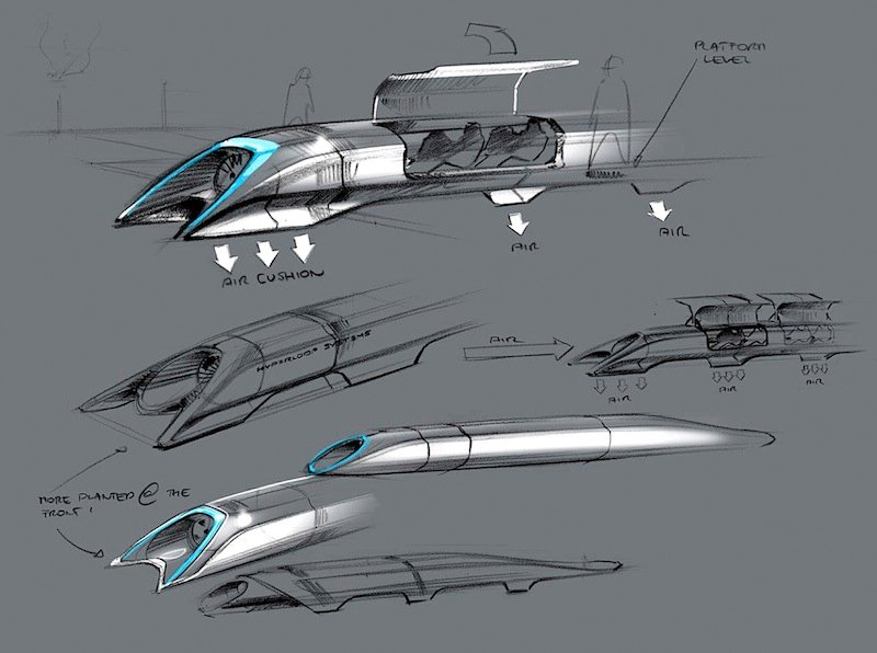 """This image released by Tesla Motors shows a conceptual design sketch of the Hyperloop passenger transport capsule. Billionaire entrepreneur Elon Musk on Monday, Aug. 12, 2013 unveiled the concept for a transport system he says would make the nearly 400-mile trip in half the time it takes an airplane. The """"Hyperloop"""" system would use a large tube. Inside, capsules would float on air, traveling at over 700 miles per hour. (AP Photo/Tesla Motors)"""