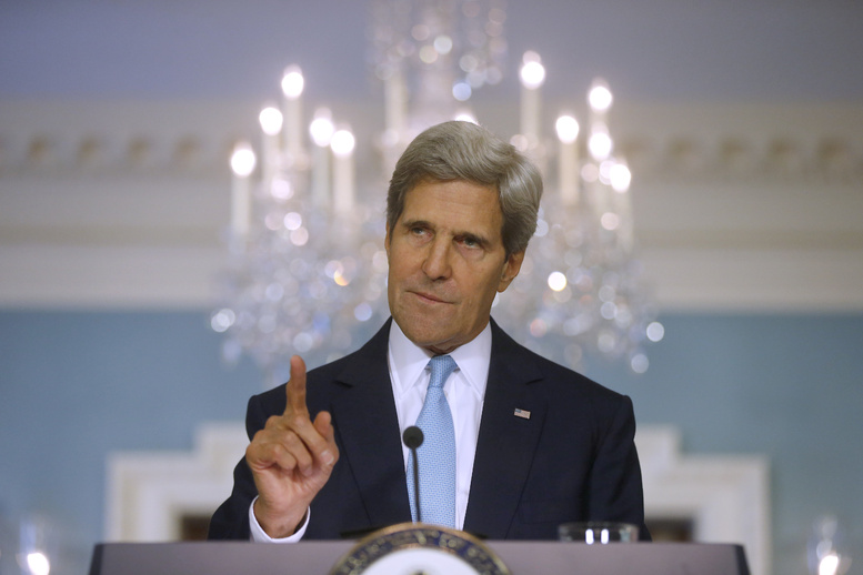Secretary of State John Kerry makes a statement about Syria at the State Department in Washington on Friday.