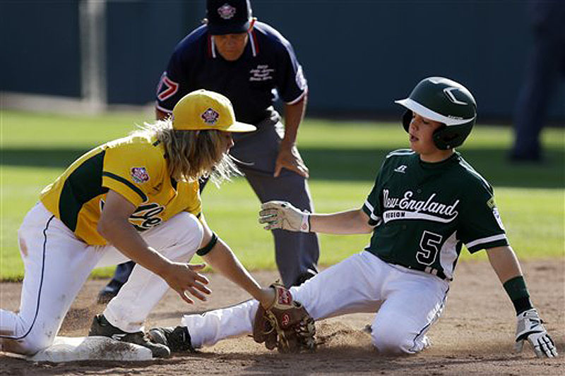 Second baseman Micah Pietila-Wiggs of Chula Vista, Calif., left, puts the tag on Matt Stone of Westport, Conn., for the out at second in the fourth inning of the United States Championship game at the Little League World Series in South Williamsport, Pa., on Saturday.